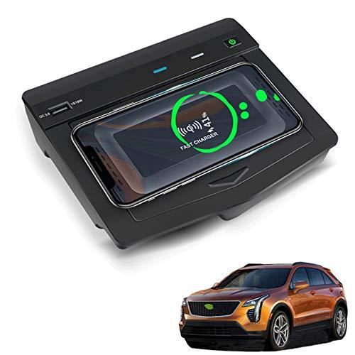 AWYLL Cargador de Coche Inalámbrico para Cadillac XT4 2018 2019 2020 2021, Almohadilla de Cargador de Teléfono de Carga Rápida de 15 W con USB QC3.0 para iPhone 12 Pro MAX Mini 11 / XS MAX/XR / 8