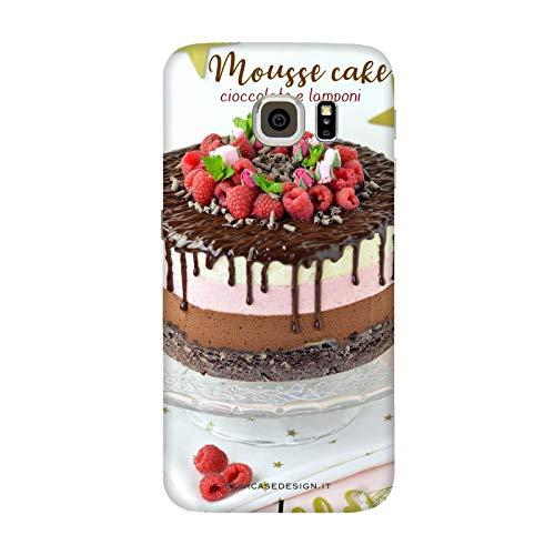 Generico Cover Samsung Galaxy S6 Edge | G9250 Torta Cioccolato e Lamponi Mousse Cake/Custodia Stampa Anche sui Lati/Case Anticaduta Antiscivolo AntiGraffio Antiurto Protettiva Rigida