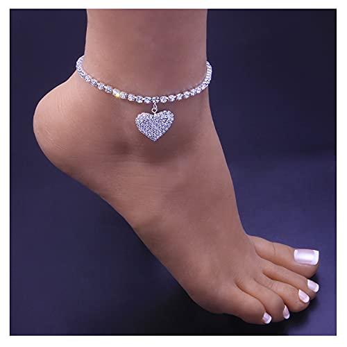 Rhinestone Tennis Chain Heart Anklet Bracelet,Crystal Heart Pendant Anklets,Boho Foot Chain Bracelet,Crystal Armlet,Rhinestone Leg Bracelet Jewelry (Silver Heart)