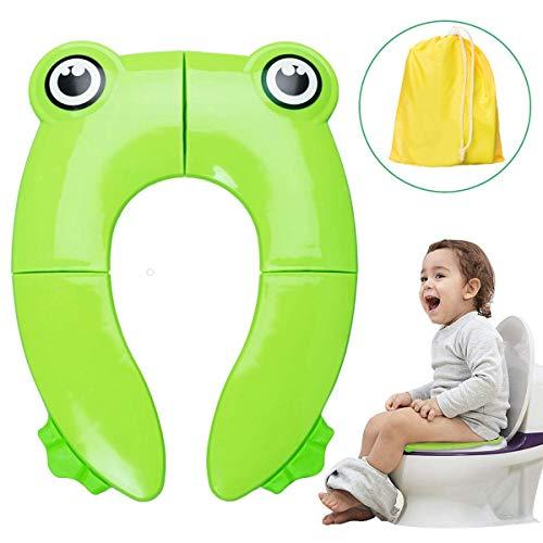 Minetom Kinder Toilettensitz Faltbarer Toilettentrainer Tragbar Reise WC Sitz Kleinkind Töpfchentraine für Unterwegs mit Aufbewahrungstüte (Kinder Toilettensitz)