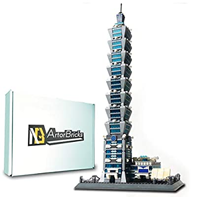 ArtorBricks Architectural Taipei 101 Building Large Collection Building Set Model Kit and Gift for Kids and Adults , Compatible with Lego (1512 Pieces)