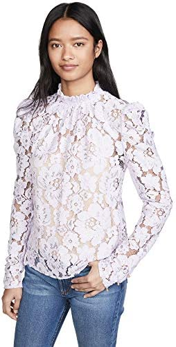 WAYF Women s Emma Puff Sleeve Lace Top Lavender Purple Small product image
