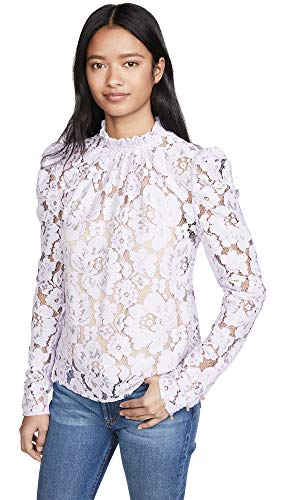 WAYF Women's Emma Puff Sleeve Lace Top, Lavender, Purple, Small
