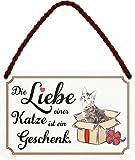 schilderkreis24 Targa in metallo con scritta divertente 'Die Liebe Katze', idea regalo, vintage, idea regalo per compleanno, Natale per tutti i fan dei gatti, 18 x 12 cm