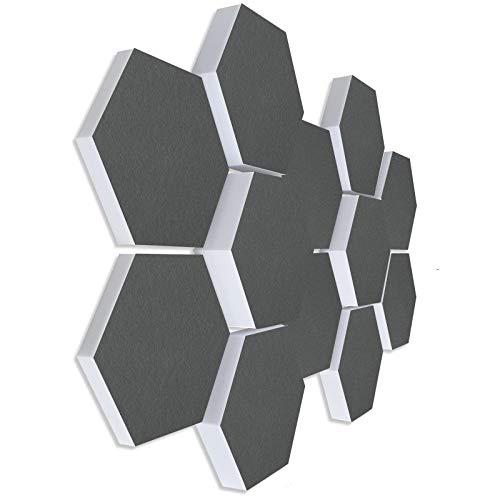 Basotect G+ ® Schallabsorber 3D-Set < 12 Elemente Ø30cm Wabe > Qualitäts Akustik Elemente/Oberseite GRANITGRAU