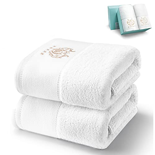WIIKWEEK 100%Cotton Bath Towel Set, 27'x54' ,White Luxurious 600 GSM Large Bath Towels,Highly Absorbent,Super Soft Towels for Bathroom, (2 Pieces)
