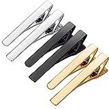 WYZXR 6 Pcs Pince À Cravate Skinny Tie Bar pour Hommes Argent Or Noir Deux Styles Cravate Bar Pinces À Pincer Convient pour Les Anniversaires de Mariage