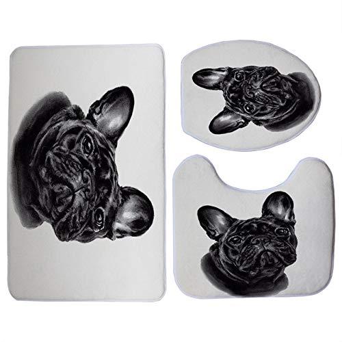 MYSdd Lindo Estampado de Bulldog Francés Negro 3 unids/Set Funda de Asiento de Inodoro baño Interior Antideslizante Alfombra de Piso de Lana de Coral decoración de baño - 8