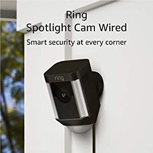 Ring Spotlight Cam Wired: Plugged-in HD security camera with built-in spotlights, two-way talk and a siren alarm, Black
