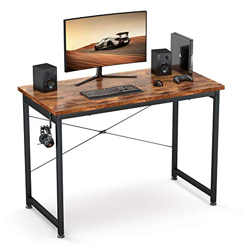 """Computer Desk 39"""", Small Sturdy Computer Table, Writing Desk for Home Office, Gaming Desk with Headphone Hook, Computer Work Station, Work Table, Relic"""