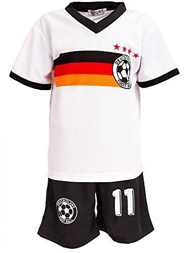 Top-Kiddy-Fashion 24brands - Jungen Fußball Set 2 Teilig Trainings Trikot Deutschland Italien Brasilien Spanien Türkei Schweiz Ländertrikot - 2630, Größe:152;Farbe:Deutschland Weiß