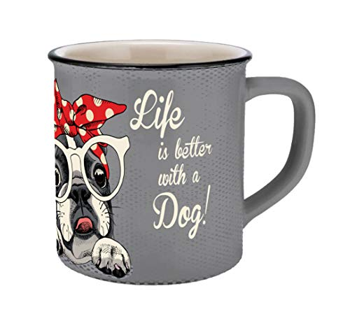infinite by GEDA LABELS (INFKH) 13700 Vintage Tiere Bulldogge Emaille-Optik Tasse, Porzellantasse, Kaffeetasse, Grau