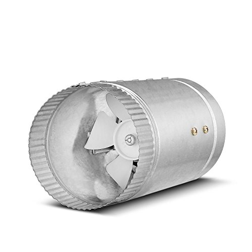 Flexzion Inline Duct Fan - (4 Inch, 65 CFM) Exhaust Blower Vent Air Extractor Ventilation System HVAC Booster Low Noise Quiet Operation with Blade & Grounded Power Cord