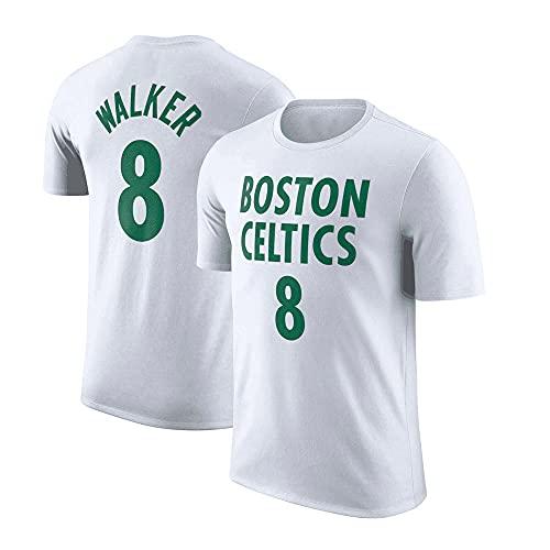 Camisetas De Hombre, Boston Celtics # 8 Kemba Walker Camisetas De Baloncesto De La NBA Camisetas De Manga Corta Informales Sueltas Camisetas Transpirables,Blanco,S(160~165CM)