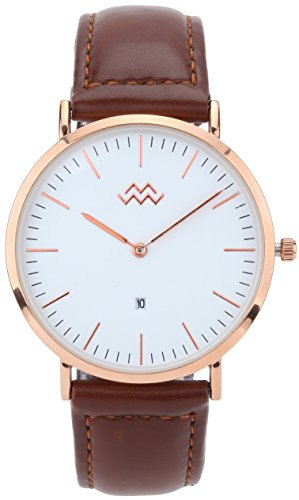 Mio Marino Mens Leather Watch – Fashion Wrist Watches for Men – Classic Mens Dress Watch – Rose Umber