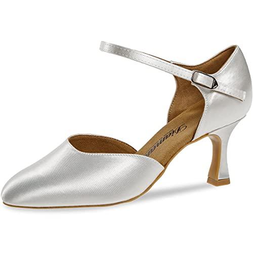 Diamant 051-085-092-Y - Zapatos de baile para mujer (tacón de 6,5 cm, suela VarioSpin), color blanco satinado, Blanco, 36 EU