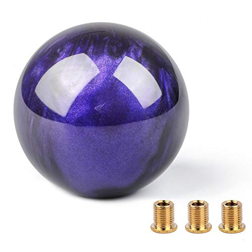 PAFUWEI Stick Shift Knob, Gear Shift Knob with 3 Adapters Round Ball Stick Shifter Level Adapter for Non-Threaded Shift Knob (Purple)