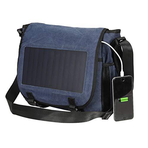 WishY Solarrucksack, Solarpanel Solar Rucksack, Solar Ladegerät Laptop Rucksack, mit 7W Solarpanel für iPad Smart Phone,Blue