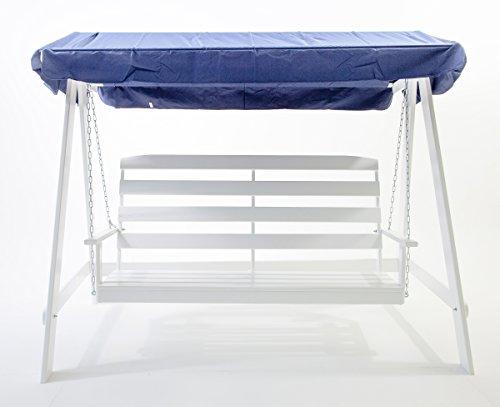 Ambientehome 90090 3-er Hollywoodschaukel / Holzschaukel Massivholz Vetlanda, Weiß / Blau