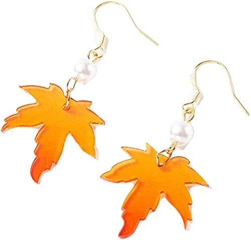 coadipress Red Maple Leaf Earrings for Women Girls Unique Long Pearl Acrylic Fall Autumn Leaves Dangle Drop Season Plant Earrings Christmas Thanksgiving Jewelry