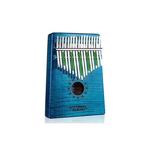 SSGFZ Piano de pulgar Kalimba de 17 teclas, puro arce de grano de tigre, hermoso tono, fácil de llevar y fácil de aprender, la última versión de la banda sonora azul ( Color : Azul , Edition : 17E )