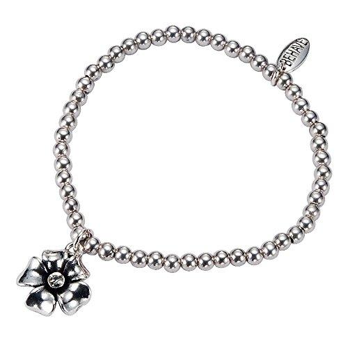 Parelarmband zilverkleurig - Stretch bedelarmband met bloemenhanger in zilver - sieraden
