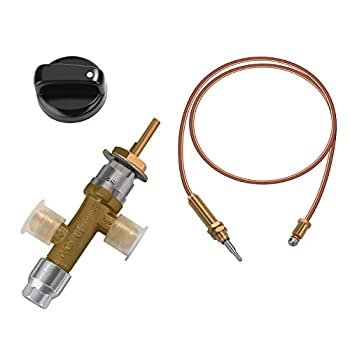 WADEO Low Pressure LPG Propane Gas Fireplace Fire Pit Flame Failure Safety Control Valve Kit Low Pressure Propane Fire Pit Replacement Part with 3/8  Flare Inlet & Outlet