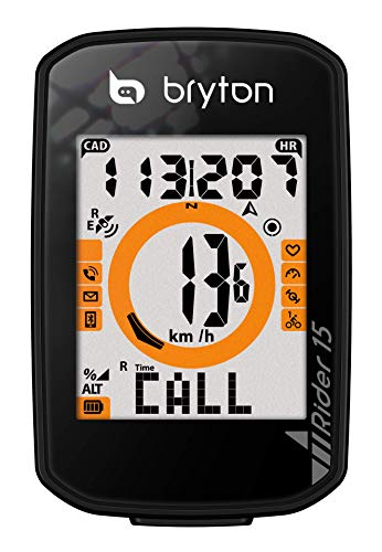 Bryton Rider 15 GPS Cycle Computer. Your First GPS Bike Computer, Ease of use, no Complicated Setup. Compatible to BLE sensors, 30 Features Supported. (Device Only)