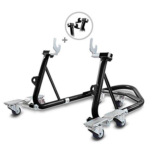 ConStands Mover I - Motorrad Montageständer Kompatibel für Hinten Rangierhilfe Hinterrad-Ständer Heber Universal hinten Schwarz