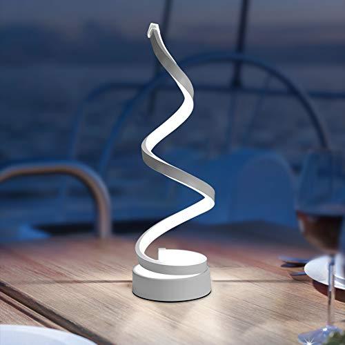 SANGSHI Moderna lámpara de mesa en espiral, LED, mesa de noche, acrílico, hierro, luz curvada para salón, dormitorio, decoración, enchufe UE