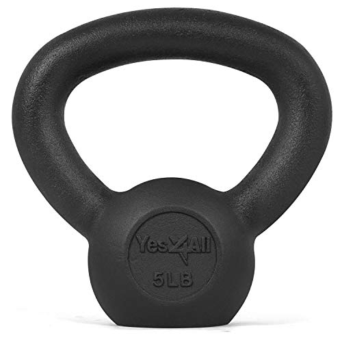 Yes4All Solid Cast Iron Kettlebell Weight – Great for Full Body Workout and Strength Training – Kettlebell 5 lbs (Black)