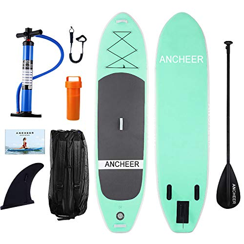 ANCHEER Inflatable Stand Up Paddle Board 10', Inflatable SUP Board, iSUP Package w/Adjustable Paddle, Leash, Pump and Backpack