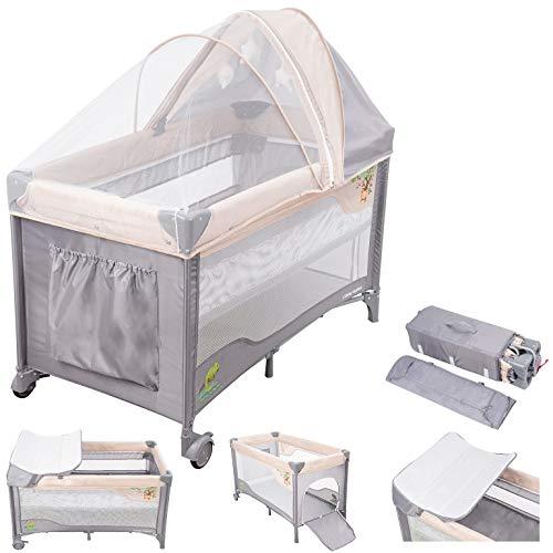 Moby-System 2-in-1 Reisebett HUXLEY, faltbares Kinderbett für Unterwegs, für Neugeborene bis Kleinkinder- auch als Laufstall nutzbar, ab der Geburt bis ca. 3 Jahre, Wickelauflage, Rollen, Grau/Rose