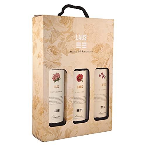 LAUS - Estuche de Vino 3 Botellas de Vinos Tintos - Tinto Barrica 2018, Tinto Crianza 2017 y Tinto Reserva 2016 - Denominación de Origen Somontano - 3 Botellas de 75 cl - Selectas Variedades