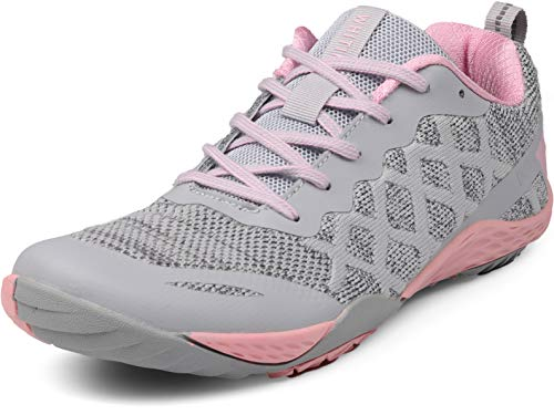 WHITIN Women's Minimalist Barefoot Shoes Low Zero Drop Trail Running Camping Size 8.5 Lady Fitness Gym Workout Sneaker Tennis for Female Wide Toe Box Flat Comfortable Treadmill Pink 39