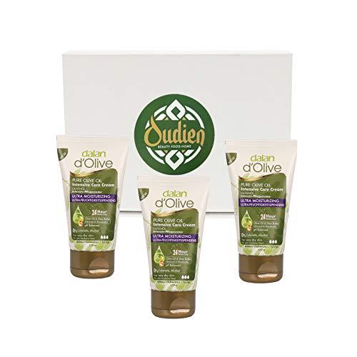 OUDIEN 3er Set dalan d'olive Pflegecreme 50ml, intensive Pflege für Hände und Körper mit Olivenöl, Feuchtigkeitscreme