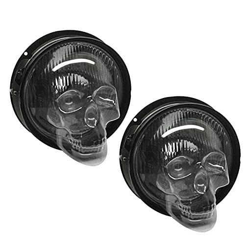 Syina 1/2 unidades de cubiertas de faros de cráneo de 7/5,75 pulgadas para motocicleta, cubiertas decorativas para faros de coche, camión, coche, decoración, accesorios sin lámpara