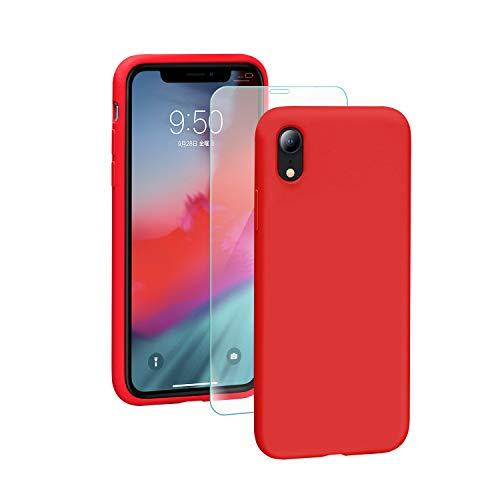SmartDevil Funda para iPhone XR + Vidrio Templado, [Totalmente Protector] Funda de Goma de Gel de Silicona.Líquida a Prueba de Golpes Funda de Microfibra Suave Forro Cojín para iPhone XR-Rojo