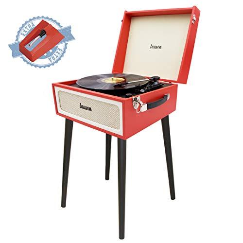 LAUSON YT078 Vinyl Plattenspieler Retro | Schallplattenspieler mit Lautsprecher | Retro-Look | Record Player Bluetooth USB | Turntable und Digital Encoder | 33/45/78 U/min | Kopfhörer-Anschlu
