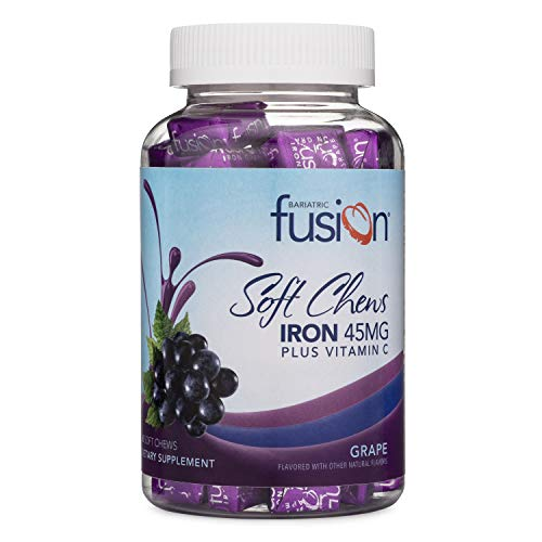 Bariatric Fusion Grape Flavored Bariatric Iron Soft Chew with Vitamin C for Bariatric Patients Including Gastric Bypass and Sleeve Gastrectomy, 60 Count, Two Month Supply