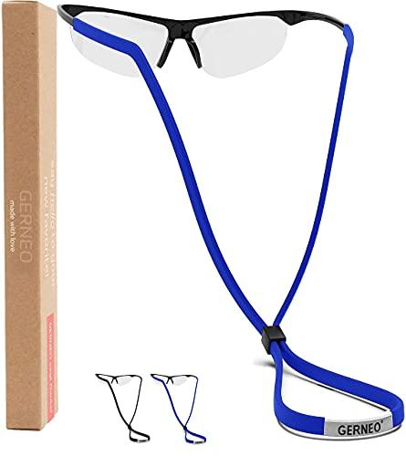 GERNEO® - Cadena de tela ajustable para gafas deportivas - para gafas de deportivas - Banda impermeable para gafas de hombre y de mujer - Ajuste seguro para todo tipo de deportes - paquete de dos