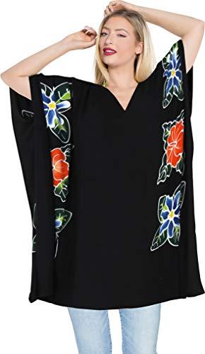 LA LEELA Damen Sommer Viskose Tunika Strandkleider Strandponcho Strand Abdeckungs Bikini Cover Up Schwarz_L276 DE Größe: 42 (L) - 46 (XL)