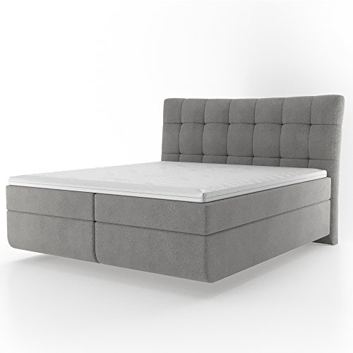 OSKAR Design Boxspringbett Bonell-Ferderkernmatratze inkl. Komfortschaum-Topper Doppelbett Hotelbett Ehebett Bett 180x200 cm grau