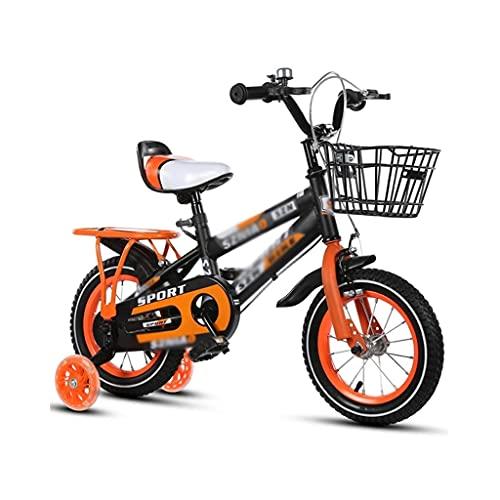 bicicleta para niños, niños y niñas, 14/16/18 Pulgadas con Ruedas auxiliares, Ajustables, con Asiento Azul y Trasero (Color : Orange, Size : 14inch)