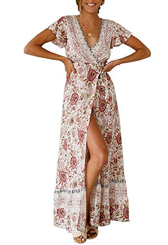PRETTYGARDEN Women's Summer V Neck Wrap Vintage Floral Print Short Sleeve Split Belted Flowy Boho Beach Long Dress (130 White, Small)
