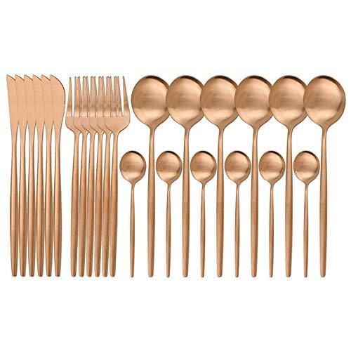 24pcs Gold Matte Cutlery Set de Cubiertos Acero Inoxidable Set Cuchillo Tenedor Cuchara SilverWaretable Set Cocina Cubiertos (Color : 24Pcs Rose)