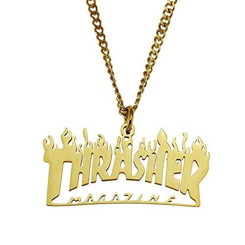 WHTIAN Hiphop Glänzend Edelstahl Lava Flamme Brief Anhänger Persönlichkeit Klassische Skateboard Street Halskette Zubehör