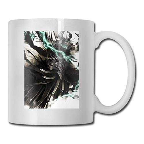 Daawqee Becher Porcelain Coffee Mug Lightning Airbrushed Ceramic Cup Tea Brewing Cups for Home Office