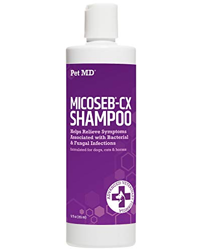 Pet MD Micoseb-CX Medicated Shampoo for Dogs, Cats, & Horses with Miconazole, & Chlorhexidine Skin Infection Treatment of Skin Conditions, Growths, and Infections - 12 oz