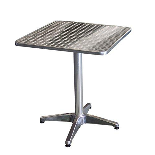 Wohaga® Bistrotisch, Aluminium, 60x60cm, 4er-Fuss, Tischplatte in Schleifoptik/Gartentisch Beistelltisch Balkontisch Gartenmöbel Balkonmöbel Terrassenmöbel